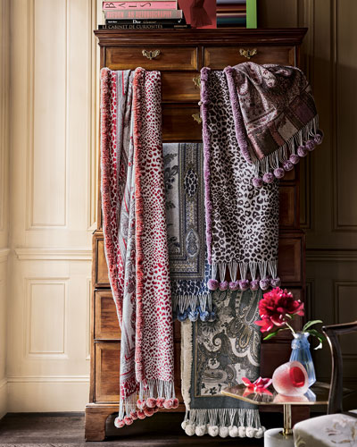 Gorski Cashmere/Rabbit Fur Pom Pom Stoles
