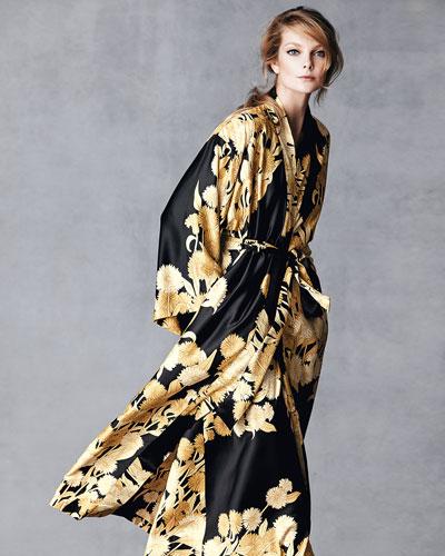 Natori Irina Floral-Print Long Robe
