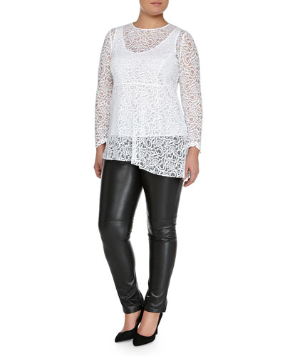 Facilita Long-Sleeve Lace Tunic & Roma Faux-Leather Pants, Women's