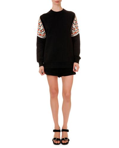 Printed-Sleeve Knit Sweatshirt & Banded-Waist A-Line Shorts