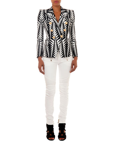 Jagged Leaf-Print Blazer & Slim-Fit Moto Jeans