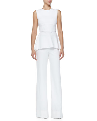 Oscar Jersey High-Low Peplum Top & Oscar Flat-Front Wide-Leg Pants, White