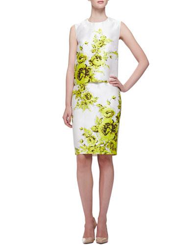 Lela Rose Floral-Print Boxy Sateen Top & Pencil Skirt