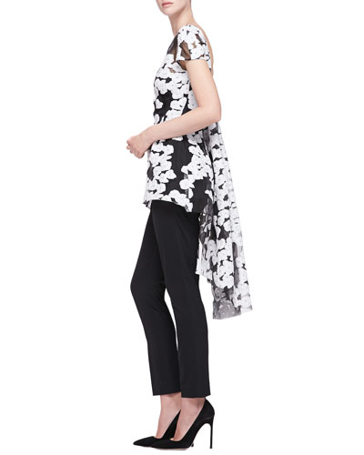 Lela Rose Short-Sleeve Watteau-Back Top & Catherine Straight-Leg Pants