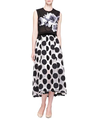 Lela Rose Rose-Embroidered Mesh Crop Top & Embroidered Mesh Polka-Dot Skirt