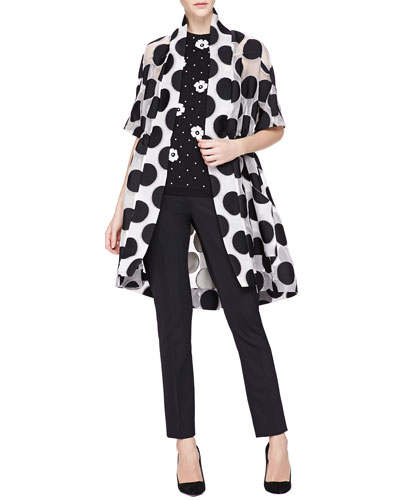 Lela Rose Embroidered Mesh Kimono Jacket, Pearly-Bead/Floral-Applique Knit Top & Catherine Straight-Leg Pants