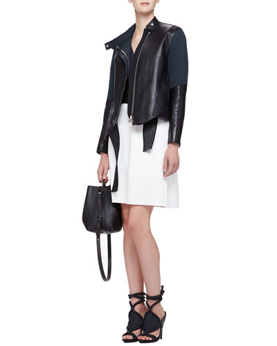 3.1 Phillip Lim Judo Leather/Silk Asymmetric Jacket & Judo Belted Cutout Dress