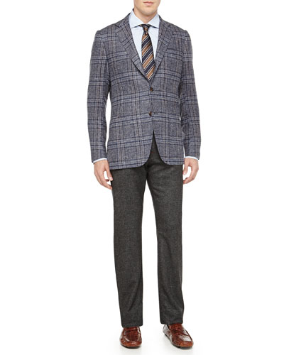 Plaid Three-Button Jacket & Melange 5-Pocket Trousers
