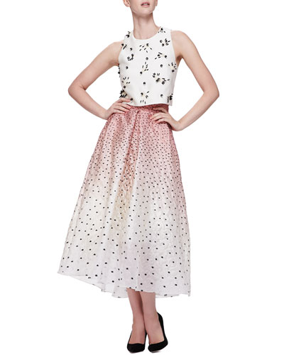 Lela Rose Bead-Applique Boxy Crop Top & Ombre Embroidered Polka-Dot Skirt