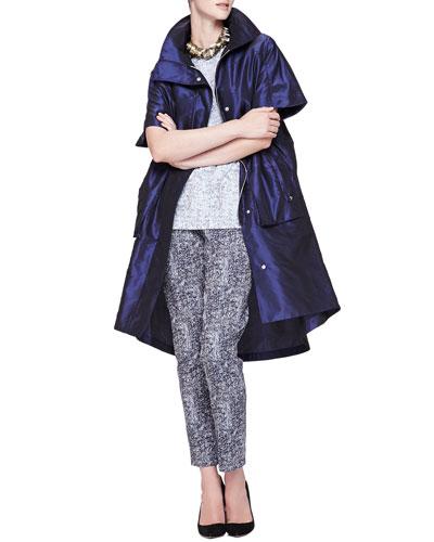 Lela Rose Short-Sleeve Iridescent Anorak, Reversible Short-Sleeve Tweed Top, Caroline Tweed-Pattern Cropped Pants & Metal-Circle Tie Necklace