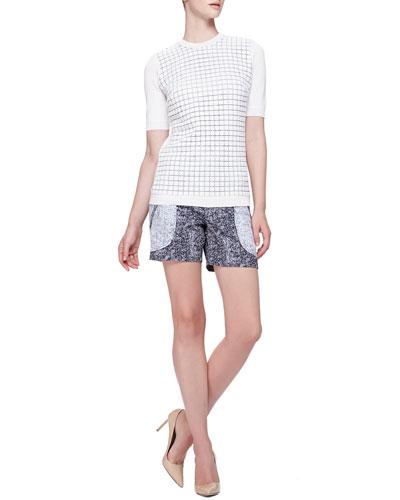 Lela Rose Tile-Knit Short-Sleeve Top & Seamed Front Pocket Shorts