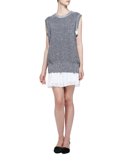 Iridescent-Trim Sleeveless Knit Top & Pleated Dotted Eyelet Skirt