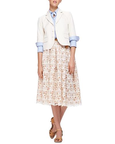 Michael Kors Elbow-Sleeve Blazer, Double-Cuff Poplin Blouse, Floral Lace Mid-Calf Skirt & Leather Studded Tie Belt