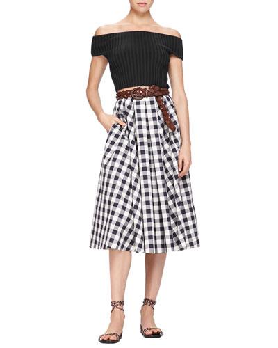 Michael Kors Off-The-Shoulder Crop Top & Macro Gingham Midi Skirt