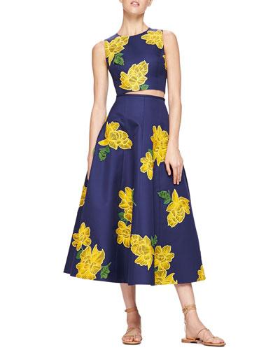 Michael Kors Dahlia-Print Sateen Crop Top & Embroidered Full Sateen Skirt