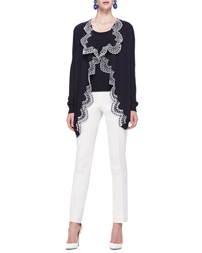 Oscar de la Renta Eyelet-Trim Draped Cardigan, Scoop-Neck Tank & Front-Seam Slim Pants