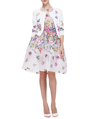 Oscar de la Renta Floral Embroidered 3/4-Sleeve Cardigan & English Garden Embroidered Organza Dress