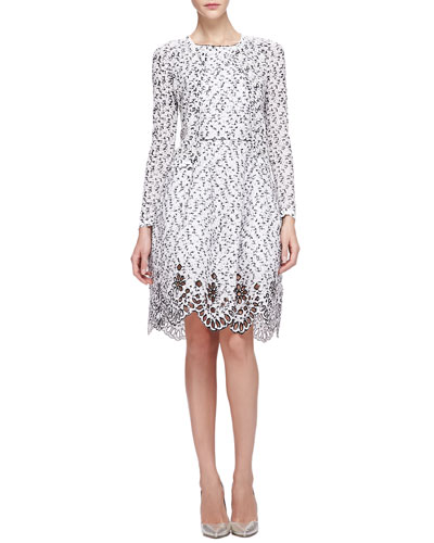 Oscar de la Renta Jewel Neck Cropped Cardigan & Speckled Eyelash Tweed Dress with Eyelet Hem