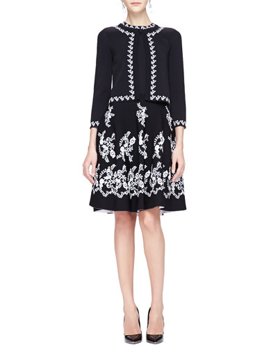 Oscar de la Renta Floral-Trim Cardigan & Jewel-Neck Floral Embroidered Dress