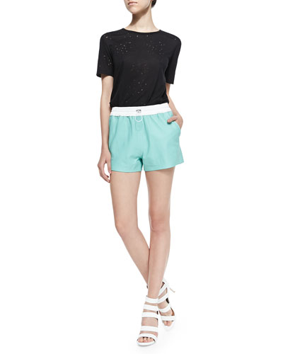Short-Sleeve Distressed Holey Tee & Matte Leather Shorts with Drawstring