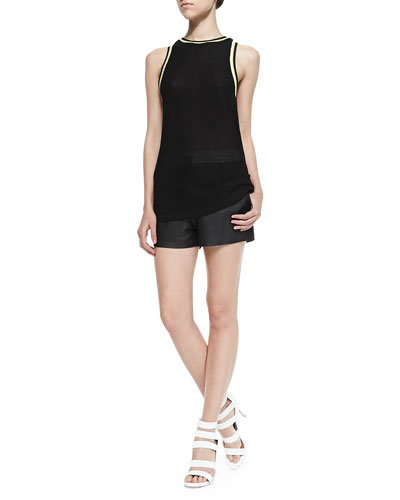 High-Neck Tank W/ Striped Trim & Matte Leather Shorts with Drawstring