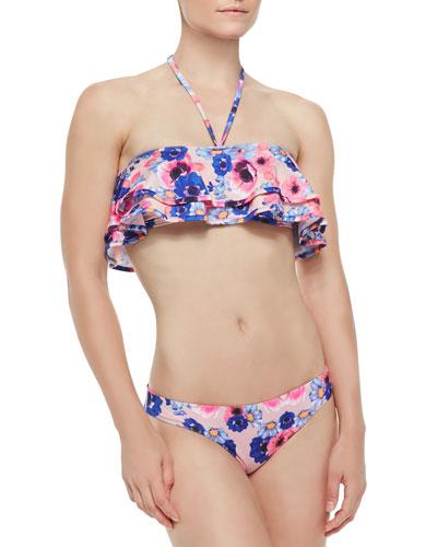 Reese Flutter Halter Bandeau Top & Solid/Floral-Print Reversible Swim Bottom