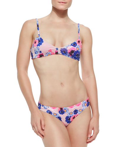 Solid/Floral-Print Reversible Swim Top & Bottom