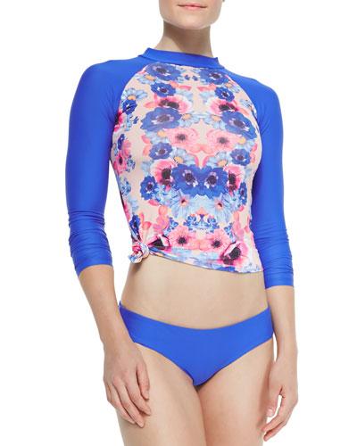 Brooks Long-Sleeve Pop Floral Rashguard, Ultramarine Taylor Underwire Swim Top & Ultramarine Sammie Swim Brief
