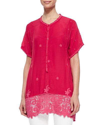 Short-Sleeve Georgette Tunic & Wilkins Printed Silk Scarf, Women's