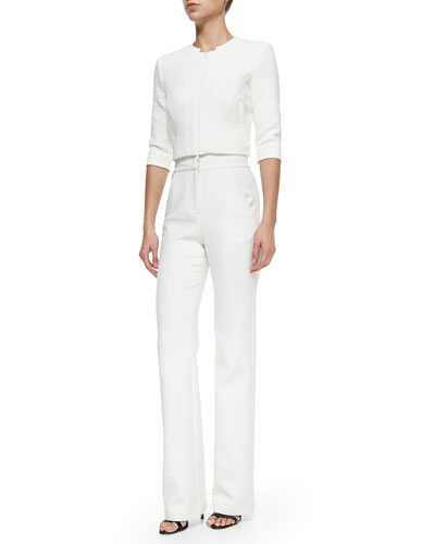 Three-Quarter-Sleeve Zip-Front Jacket & High-Waisted Straight-Leg Trousers, Cream