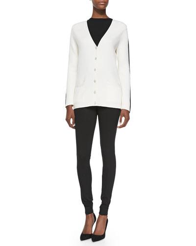 Side-Striped Long Cardigan & Side-Zip Leggings