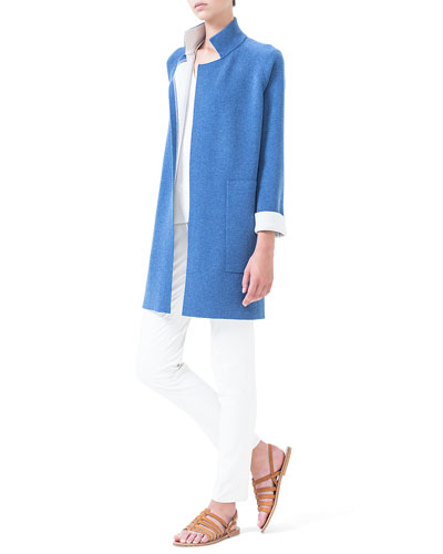 Tonal-Striped Jersey Top & Magda Flat-Front Slim-Fit Pants