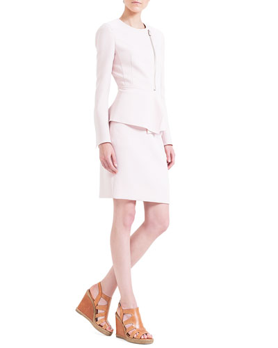 Double-Faced Peplum Jacket & Zip-Pocket Pencil Skirt, Dolomite