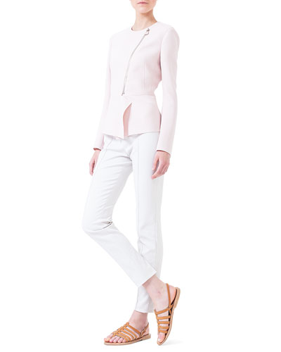 Double-Faced Peplum Jacket & Slim-Fit Techno Pants