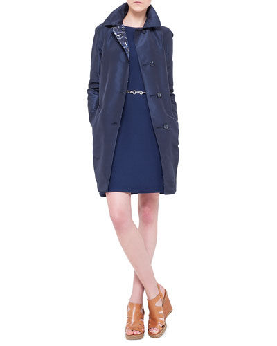 Chefchaouen-Print & Faille Reversible Jacket, Double-Faced Wool Crepe Dress & Carabiner Closure Chain Belt