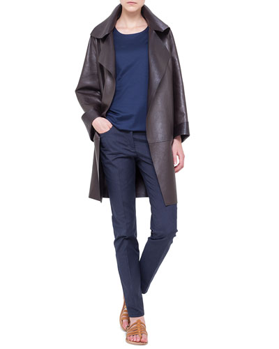Reversible Napa Leather Jacket, Jewel-Neck Double-Layered Top & Magda Slim-Fit Silk-Blend Pants
