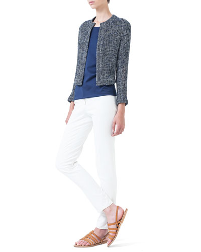 Loose-Woven Short Jacket, Jewel-Neck Double-Layered Top & Magda Flat-Front Slim-Fit Pants