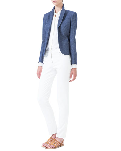 Cashmere-Blend Flannel Jacket, Handkerchief-Cuff Crepe Blouse & Magda Flat-Front Slim-Fit Pants