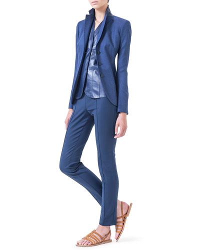 Cashmere-Blend Gabardine Blazer, V-Neck Leather Top & Melissa Slim-Fit Techno Pants