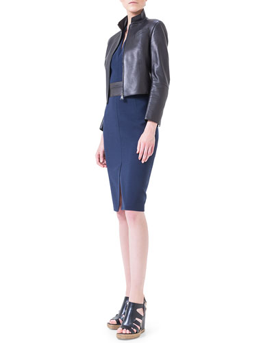 Asymmetric-Cut Back Leather Jacket & Leather-Trimmed Double-Faced Sheath Dress