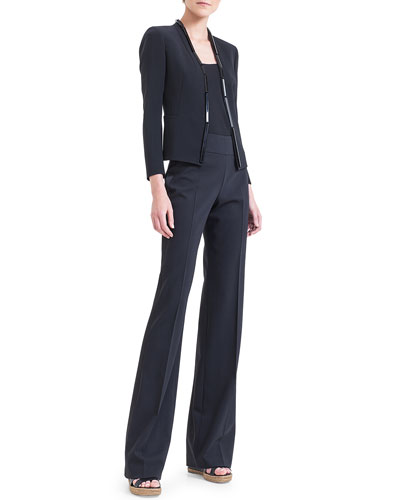 Embellished Double-Faced Jacket, Scoop-Neck Georgette Tank & Carla Double-Faced Straight-Leg Pants, Black