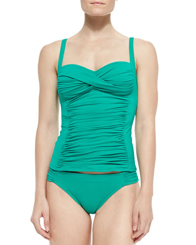 Ruched Sweetheart Tankini Swim Top & Ruched-Side Hipster Swim Bottom