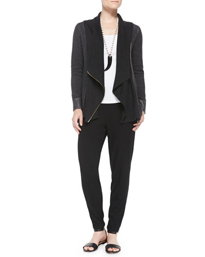 Draped Organic Cotton Zip Cardigan, Organic Cotton Slim Tank & Slouchy Tapered Pants, Women's