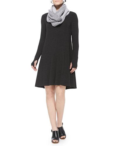 Cozy Stretch Jersey Dress W/Thumbhole Cuffs & Chevron Jacquard Infinity Scarf