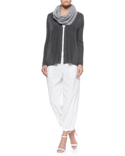 V-Neck Zip-Front Cardigan, Slim Tank, Chevron Jacquard Infinity Scarf & Drawstring-Waist Slouchy Capri Pants, Women's