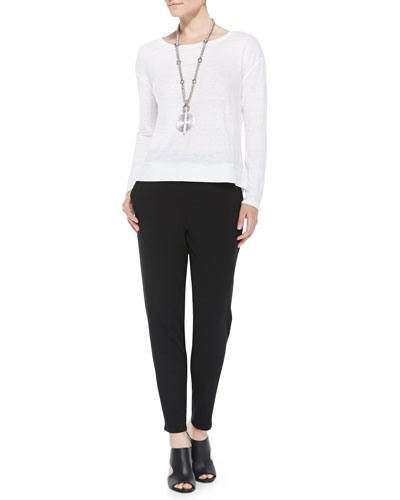 Linen Jersey Box Top & Slouchy Tapered Pants, Women