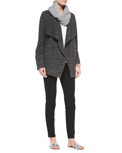 Terrazzo Stretch Long Jacket, Organic Linen Jersey Tank, Chevron Jacquard Infinity Scarf & French Terry Leggings, Women