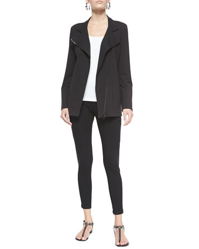 Organic Stretch Long Moto Jacket, Slim Tank & Stretch Skinny Pants with Zippers, Women