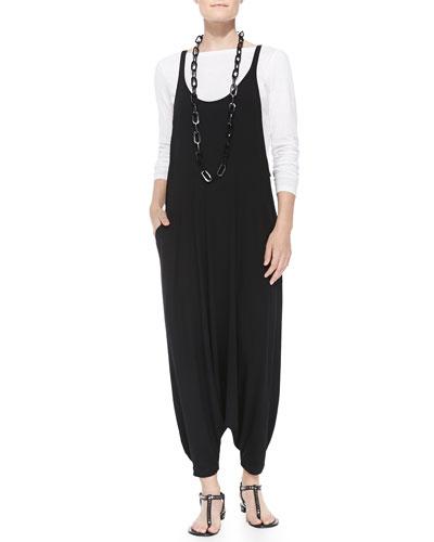 Slubby Long-Sleeve Tee & Jersey Harem Jumpsuit