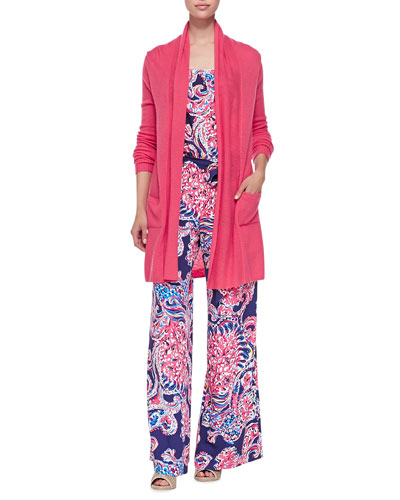 Estelle Long Cardigan with Pockets & Farrah Printed Strapless Jumpsuit